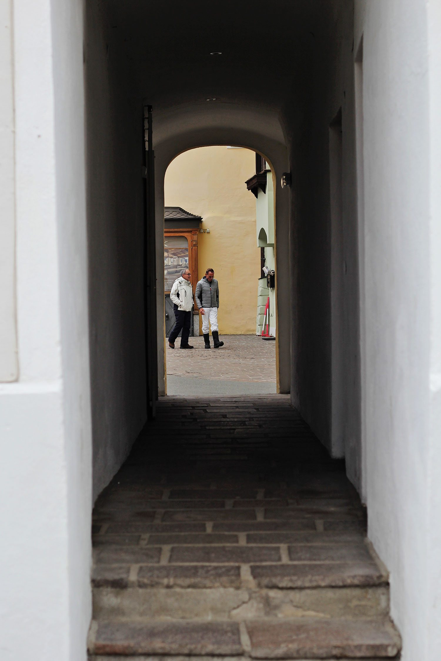 through the doorway