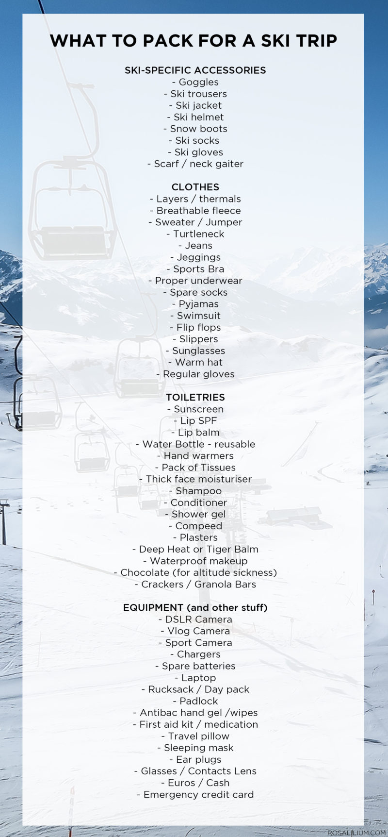 What to pack for a ski trip - packing list